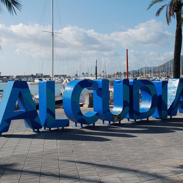"""Alcudia sign, Majorca"" stock image"