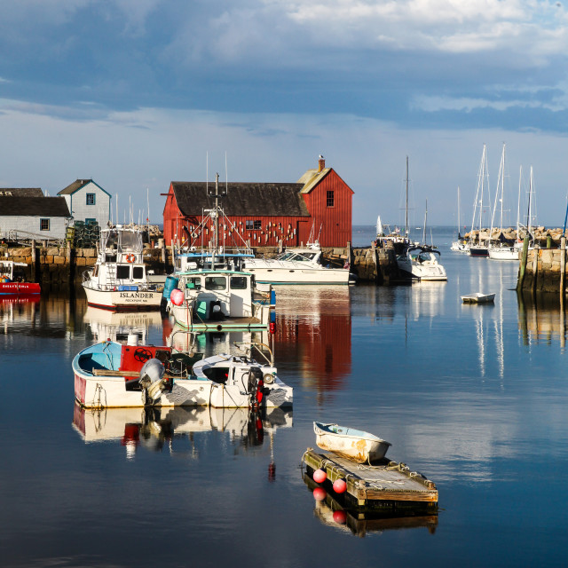 """""""A view of Rockport Harbor in beautiful summer day"""" stock image"""