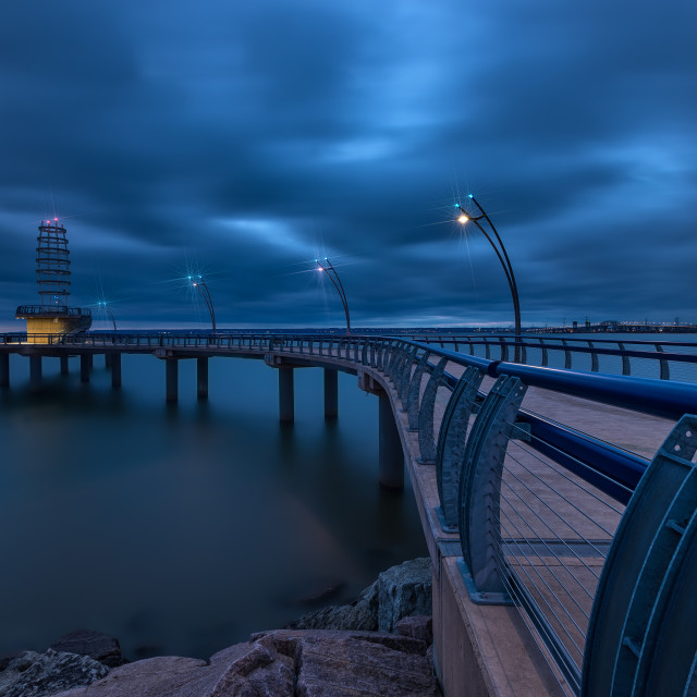 """Blue Hour at the Brant Street Pier"" stock image"