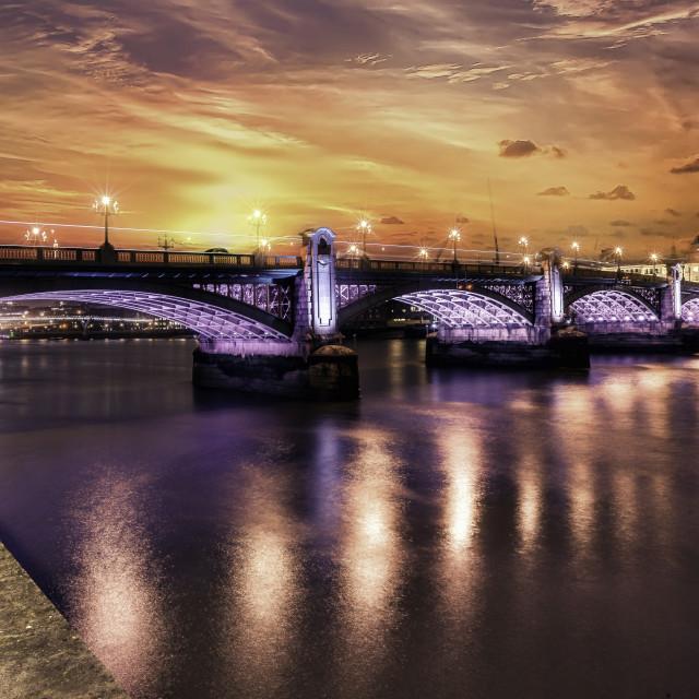 """Southwark Bridge, South Bank, London"" stock image"