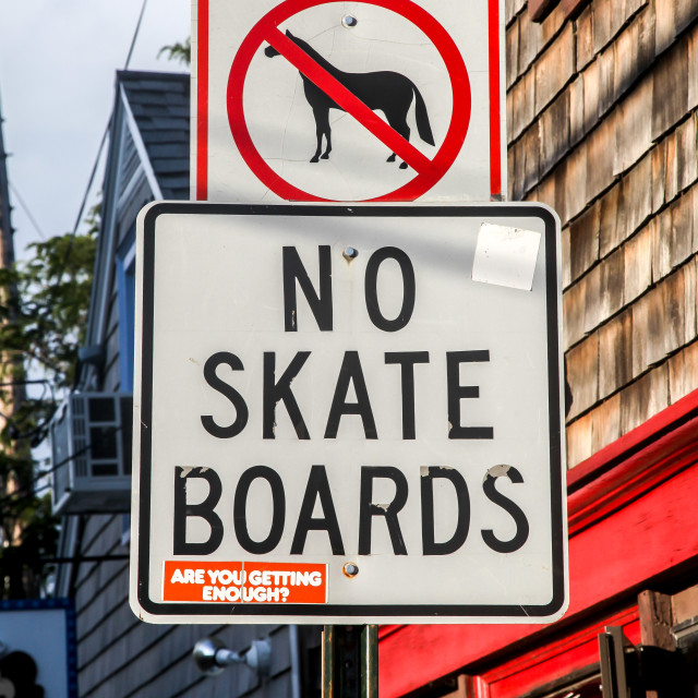 """Informative sign in Rockport Harbor"" stock image"