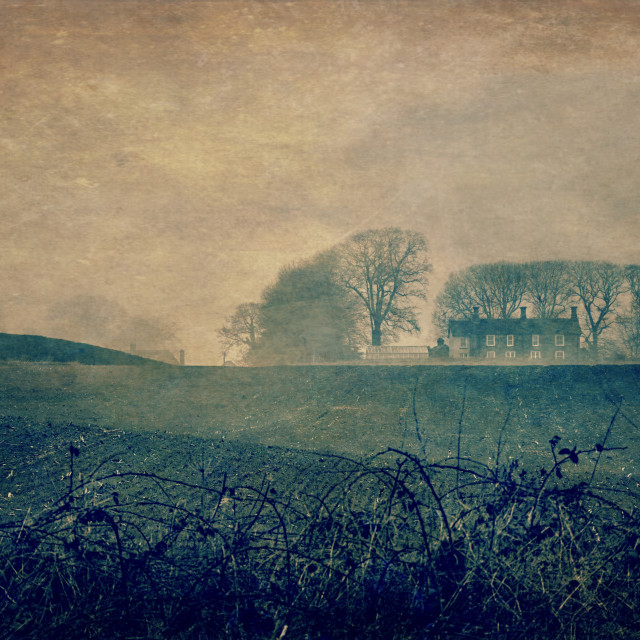 """Misty View - Milton Lilbourne, Wiltshire"" stock image"