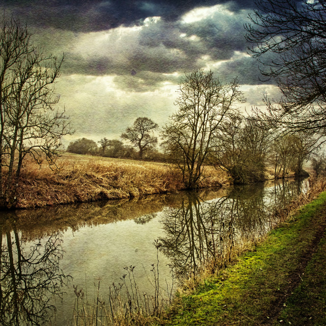 """""""Canalside Reflections #2- Milton Lilbourne, Wiltshire"""" stock image"""