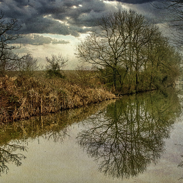 """""""Canalside Reflections #5- Milton Lilbourne, Wiltshire"""" stock image"""