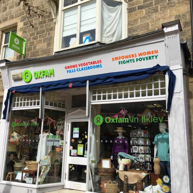 """Oxfam shop in Ilkley, Yorkshire, United Kingdom"" stock image"