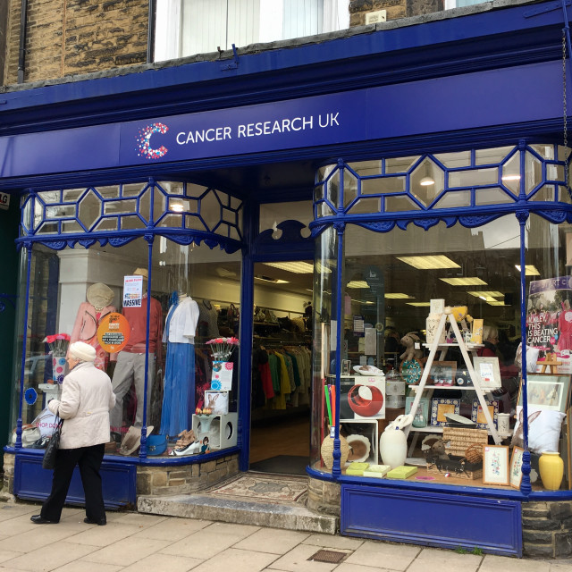 """""""Cancer research shop in Ilkley, Yorkshire, UK"""" stock image"""