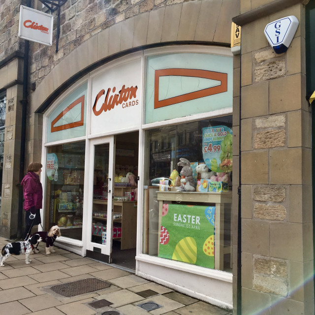"""""""Clinton Cards Shop in Ilkley, Yorkshire, UK"""" stock image"""