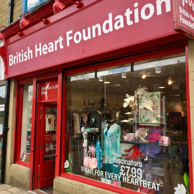 """British Heart Foundation shop in Ilkley, Yorkshire, UK"" stock image"