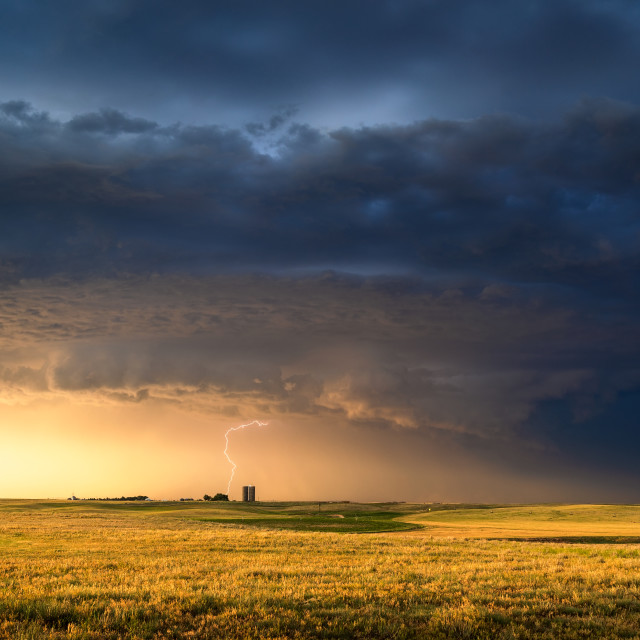 """""""Dramatic sunlight and storm clouds"""" stock image"""