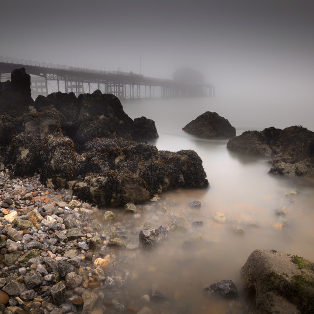 """Misty Mumbles pier"" stock image"