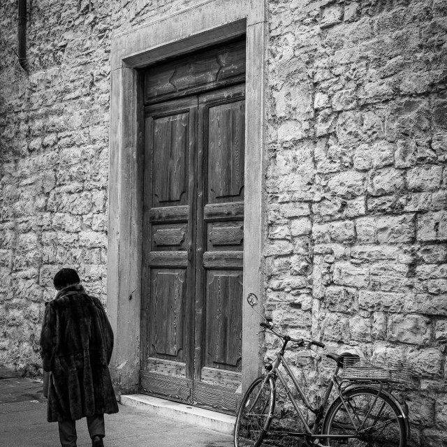 """""""Photo session in the streets of Bergamo"""" stock image"""