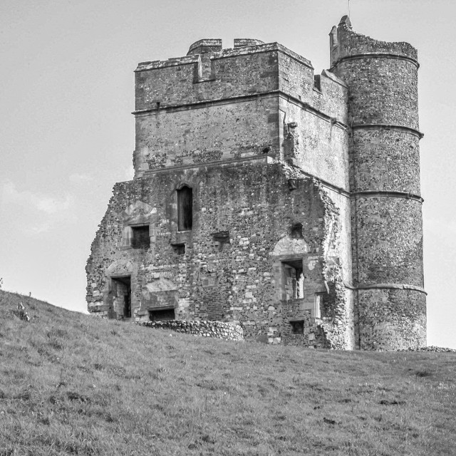 """Donnington Castle with blue sky and green grass"" stock image"