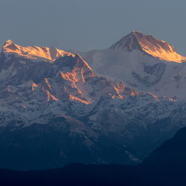 """Annapurna II and Annapurna IV seen from Sarangkot at sunrise"" stock image"