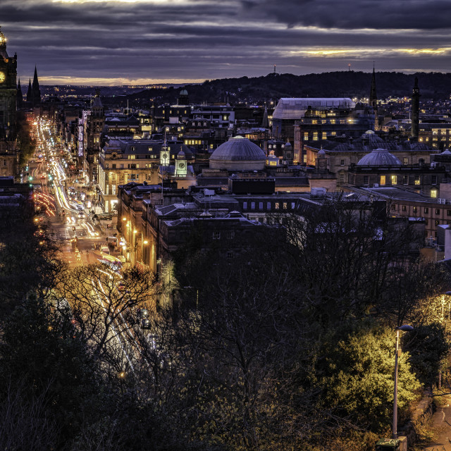 """Princes Street - Edinburgh City Lights"" stock image"