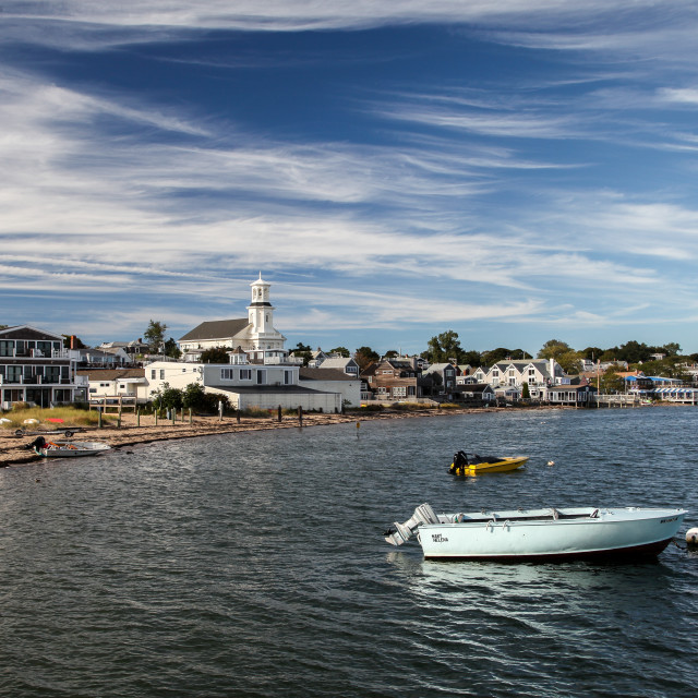 """""""View with nice sky and ocean from pier in Provincetown"""" stock image"""