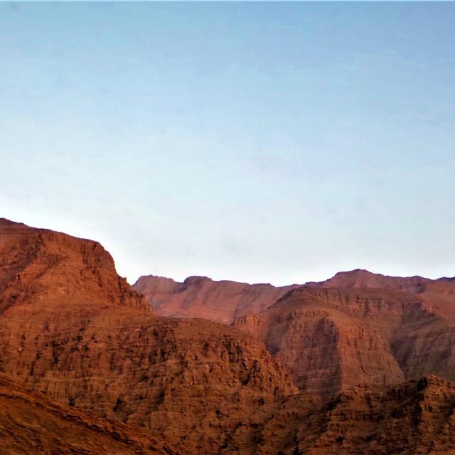 """Red rocky mountains Al Hajar Ras al Khaimah"" stock image"