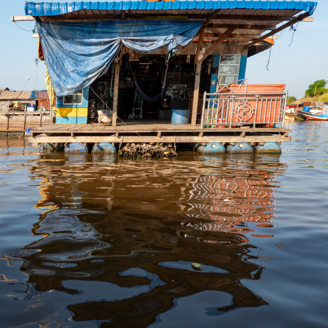 """Floating House, Tonle Sap"" stock image"