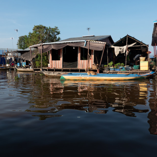 """Floating Village, Tonle Sap"" stock image"