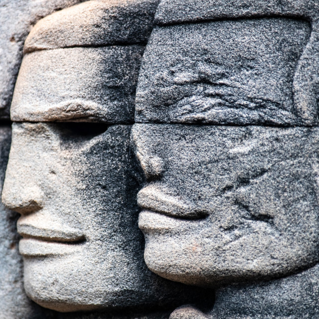 """""""Detail Angkor Thom (Cambodian Soldiers)"""" stock image"""