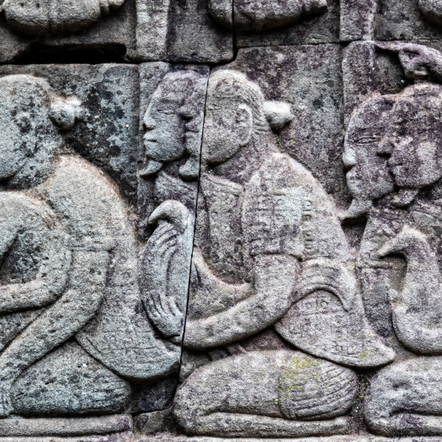 """""""Detail Angkor Thom (Chinese Soldiers)"""" stock image"""