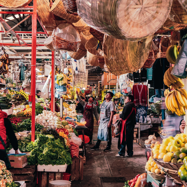 """""""Daily scene of Mexican market in San Pedro Cholula"""" stock image"""