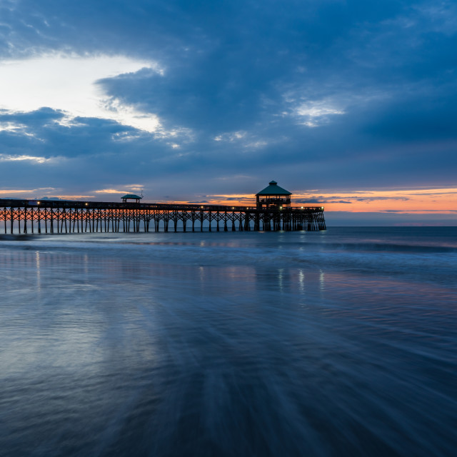 """Folly Beach Pier Blue Hour"" stock image"
