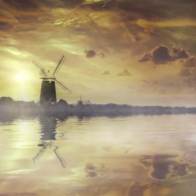"""Norfolk Windmill"" stock image"