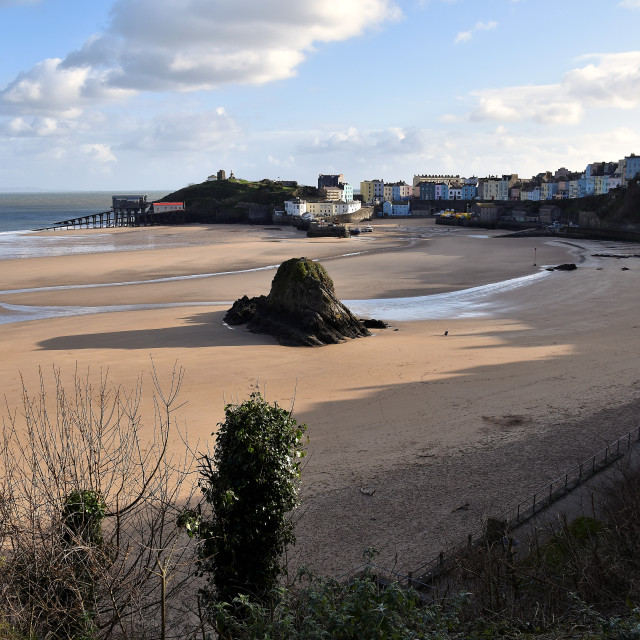 """""""A view of Tenby North beach in January"""" stock image"""