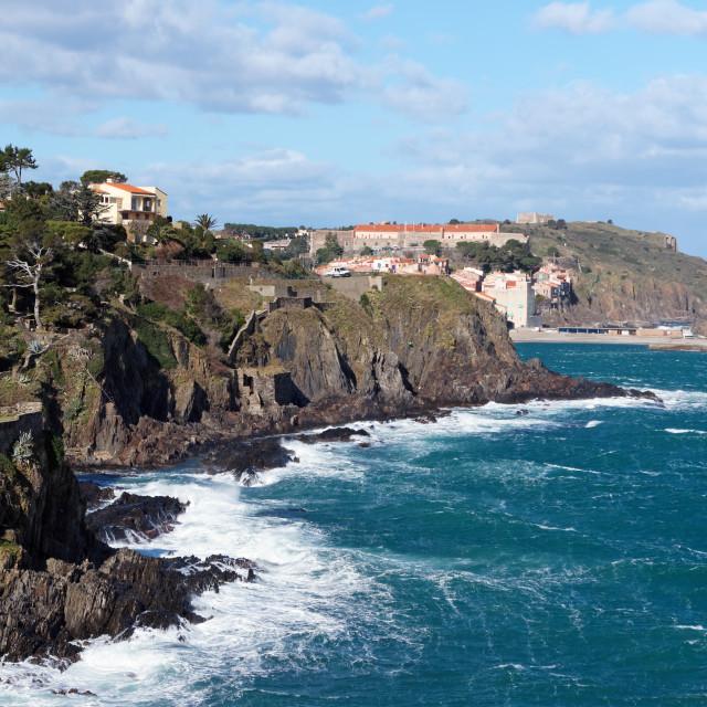 """Collioure cliff"" stock image"