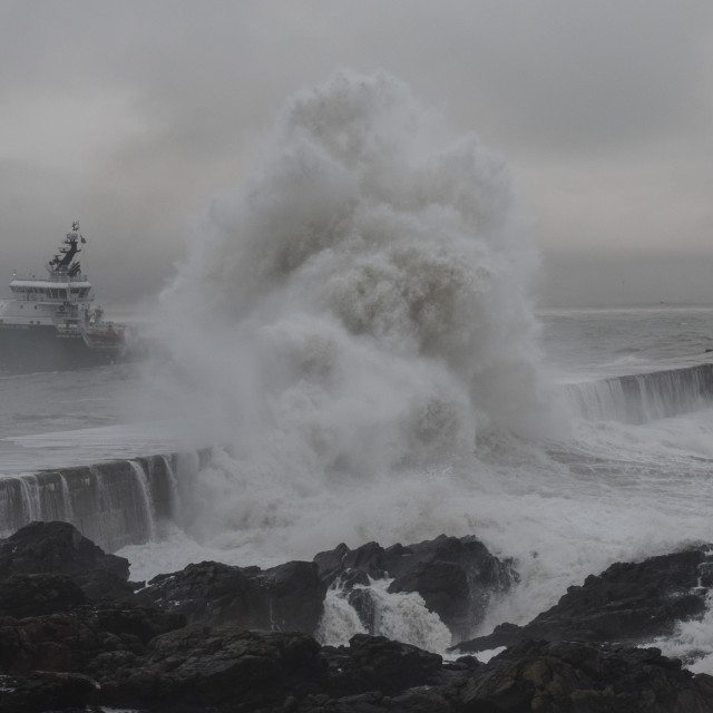 """Aberdeen Harbour Storm"" stock image"