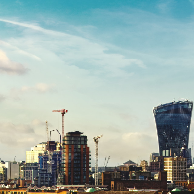 """The East London Skyline"" stock image"