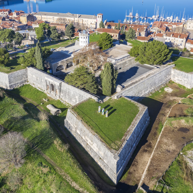 """""""An aerial view of Venetian Fortress in Pula, Istria, Croatia,"""" stock image"""