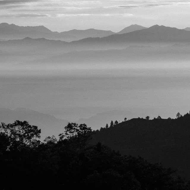 """""""Looking East from Nagarkot above the Kathmandu Valley"""" stock image"""