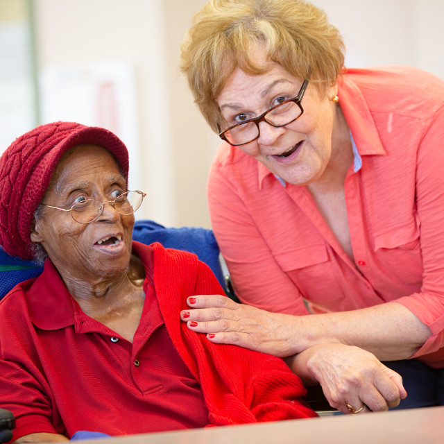 """""""Two Older Woman Together in a Senior Center"""" stock image"""