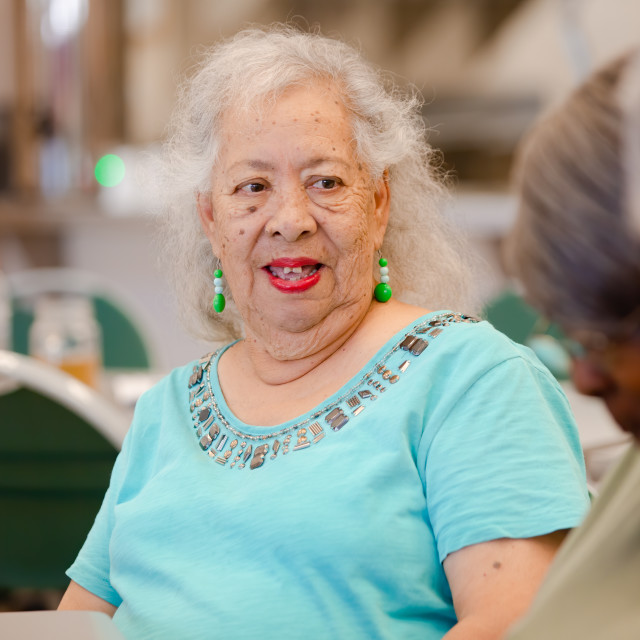 """Hispanic Senior Woman with Friends"" stock image"