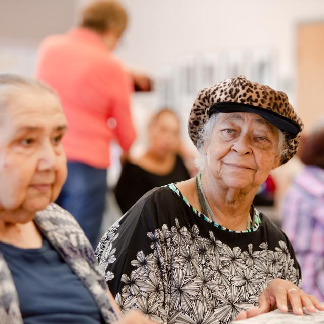 """Two Senior Woman in a Senior Center"" stock image"
