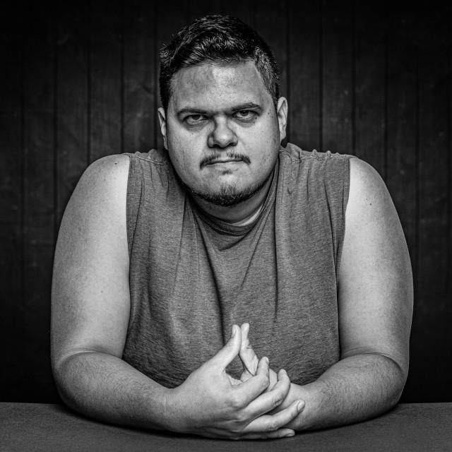 """Black and White Angry Latino Man"" stock image"