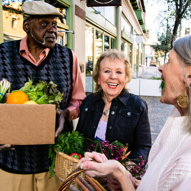 """""""Seniors Returning with Produce from Farmers Market"""" stock image"""