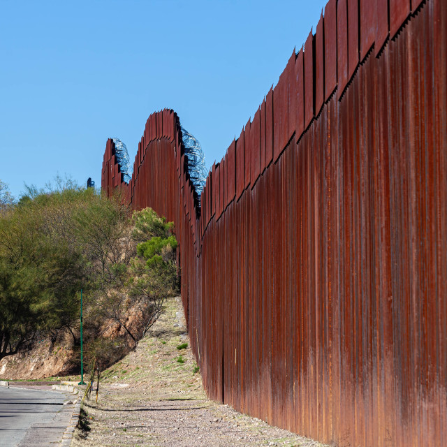 """""""United States Border Wall From Nogales Sonora Mexico"""" stock image"""