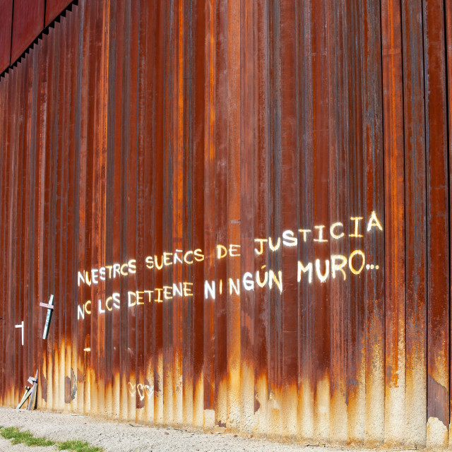 """""""Our Dreams of Justice Are Not Stopped By Any Wall Painted on Mexican Side of..."""" stock image"""