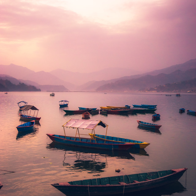 """""""Pokhara Lake at Dusk"""" stock image"""