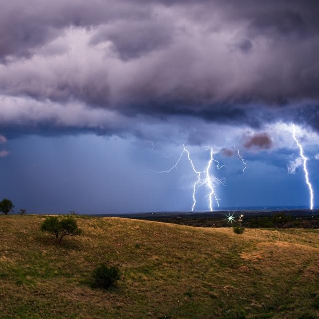 """""""Thunderstorm lightning bolt strikes"""" stock image"""