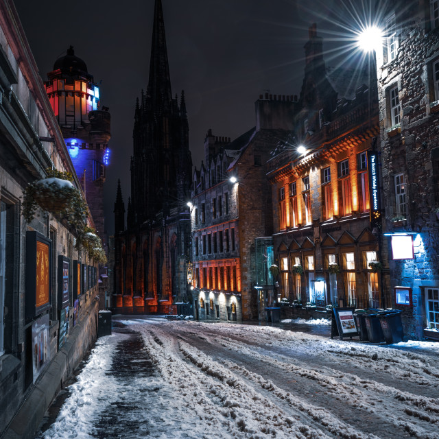 """The Royal Mile of Edinburgh in winter, Scotland"" stock image"