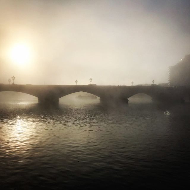 """Foggy Thames Sunrise"" stock image"