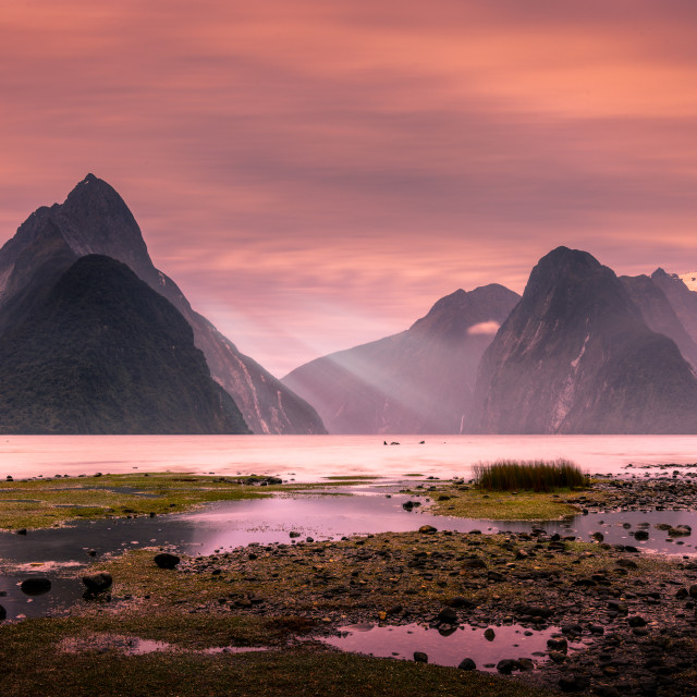 """""""Last Rays Milford Sound The 8th wonder Of the World"""" stock image"""