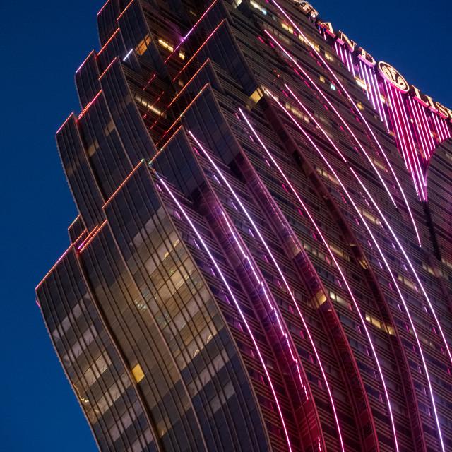 """Grand Lisboa Hotel, Macau, at night"" stock image"