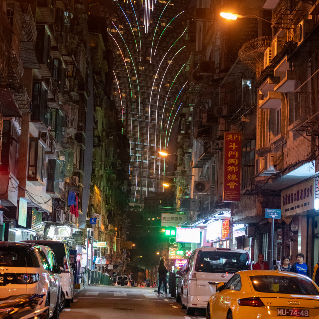 """Grand Lisboa Hotel, Macau, at night"" stock image"