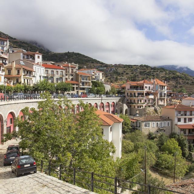 """Scenic view of picturesque Arachova village in Greece"" stock image"