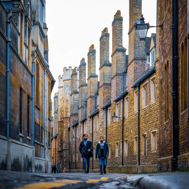 """""""Low down on Trinity Lane Cambridge"""" stock image"""