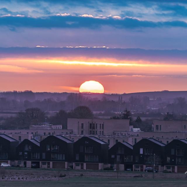 """Sunset over Trumpington"" stock image"